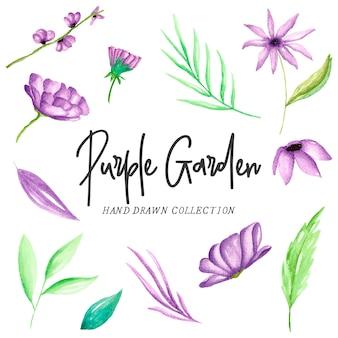 紫色の水彩植物の要素