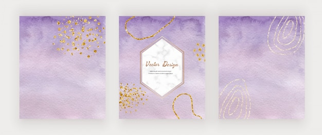 Purple watercolor brush stroke cards with gold glitter confetti and marble hexagon frame.