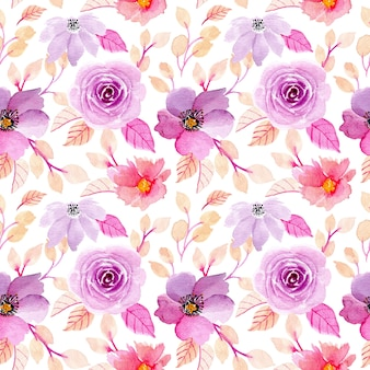 Purple watercolor floral seamless pattern