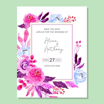 Purple watercolor flower wedding invitation card