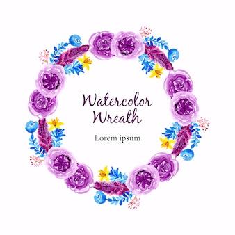 Purple watercolor flower wreath