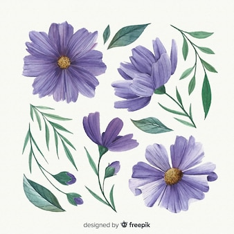 Purple watercolor flowers and leaves
