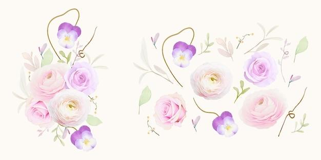 Фиолетовые акварельные розы и коллекция цветов лютик
