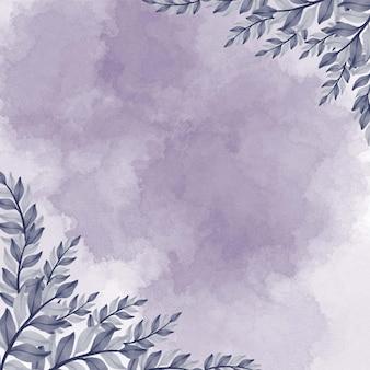 Purple watercolor splash background with purple leaves