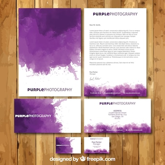 Purple watercolor stationery
