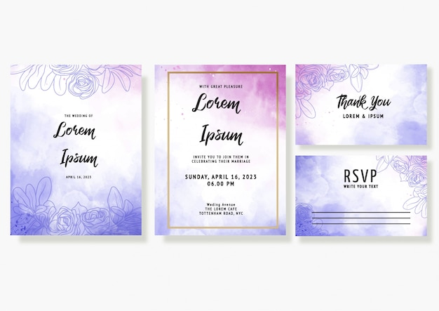 Purple watercolor wedding invitation card template set with floral decoration