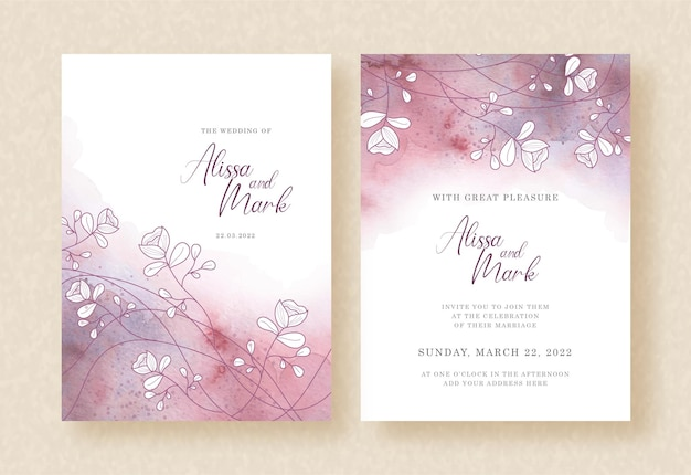 Purple watercolor with branch of flowers vector on wedding invitation card