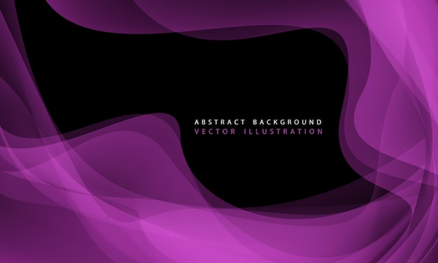Purple wave curve with simple text on black modern luxury background.