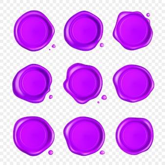 紫のワックスシールセット。透明な背景で隔離の滴を設定したワックスシールスタンプです。現実的な保証付きの紫色の切手。リアルな3 dイラスト。
