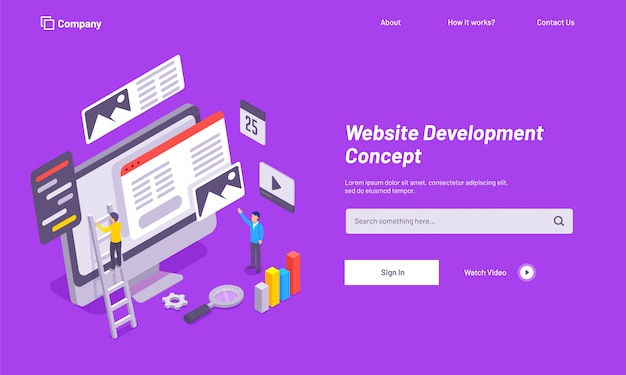 Purple website template design, website under maintenance.