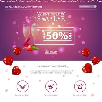 Purple website template with valentine's day design