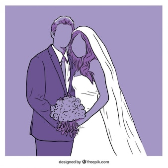 Purple wedding illustration