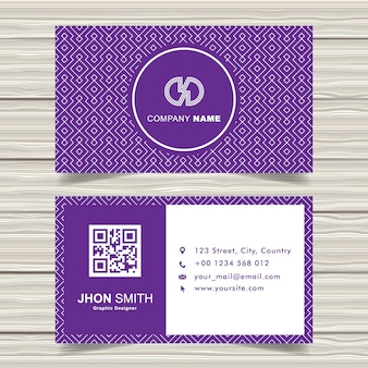 Purple-white pattern business card template design