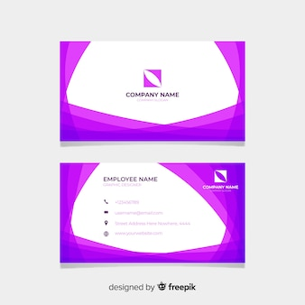 Purple and white visiting card with logo