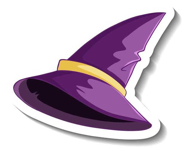 Фиолетовая шляпа ведьмы мультяшный стикер на белом фоне