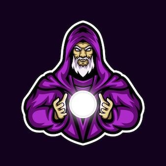 Purple wizard holding white orb esport mascot