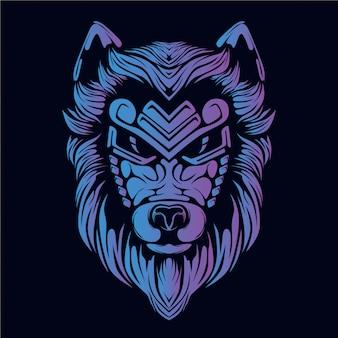 Purple wolf head illustration