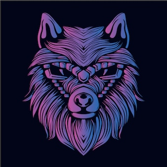 Purple wolf head illustration
