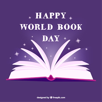 Purple world book day background