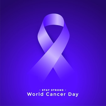 Purple world cancer day awareness ribbconcept
