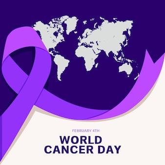 보라색 세계 암의 날 지구와 리본