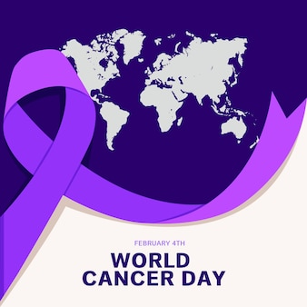 Purple world cancer day earth and ribbon