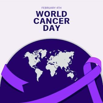 보라색 세계 암의 날 리본과 지구