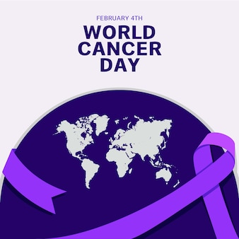 Purple world cancer day ribbon and earth