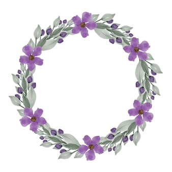 紫色の花と緑の葉の境界線を持つ紫色の花輪サークルフレーム