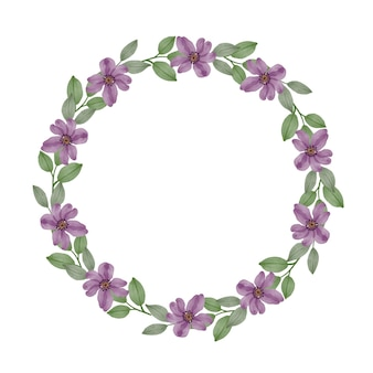 紫色の花とグリーティングカードの境界線を残す紫色の花輪サークルフレーム