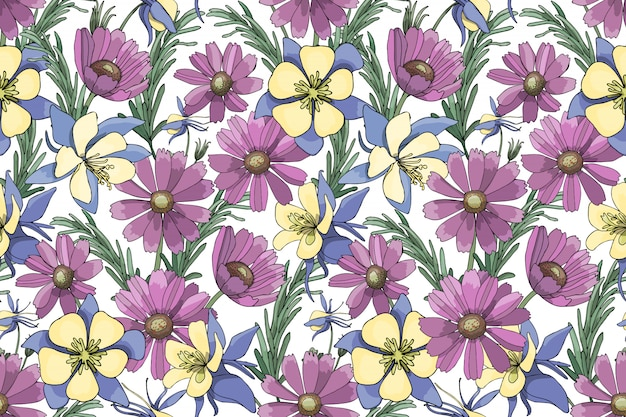 Purple, yellow, blue vector garden flowers isolated on white