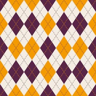 Purple and yellow diamond check dot line pattern