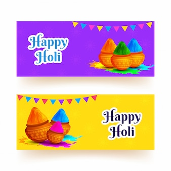Purple and yellow header or banner design for happy holi festiva