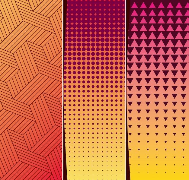 紫黄色オレンジグラデーションとパターン背景フレームセット、カバーデザイン。