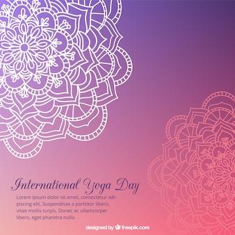 Purple yoga background with hand drawn mandalas