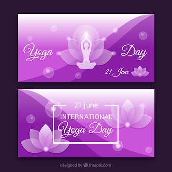 Purple yoga banners with floral details