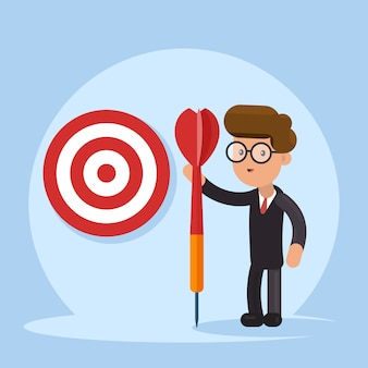 Purpose business concept. purposeful businessman with spear in hand stands with the target.