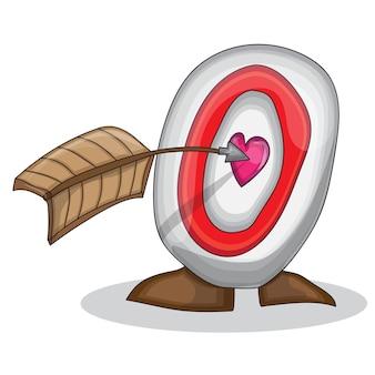 ハートと空飛ぶ矢のある目的。バレンタインデーのベクトルイラスト。