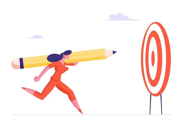 목적이있는 비즈니스 여성 또는 관리자가 작업 성공을 위해 거대한 연필을 던집니다.