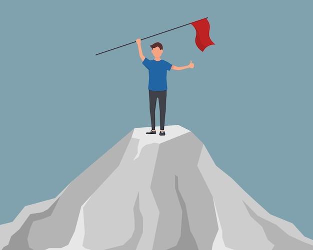 Целеустремленный бизнесмен с флагом в руке. начало пути к достижению цели. деловая женщина подняла красный флаг на вершине горы.