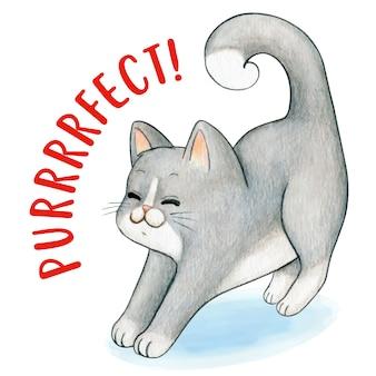 Симпатичный акварельный серый котенок растягивает purrfect