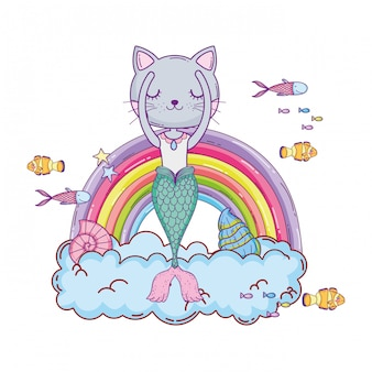 Purrmaid with clouds and rainbow undersea