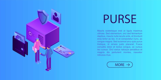 Purse concept banner, isometric style