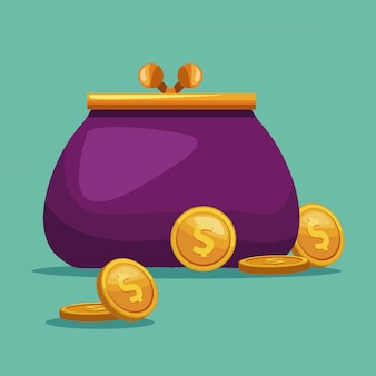 Purse with coins cartoon concept