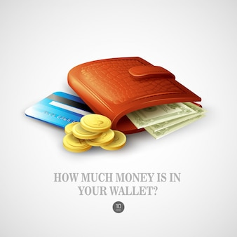Purse with money, credit cards and coins.  illustration