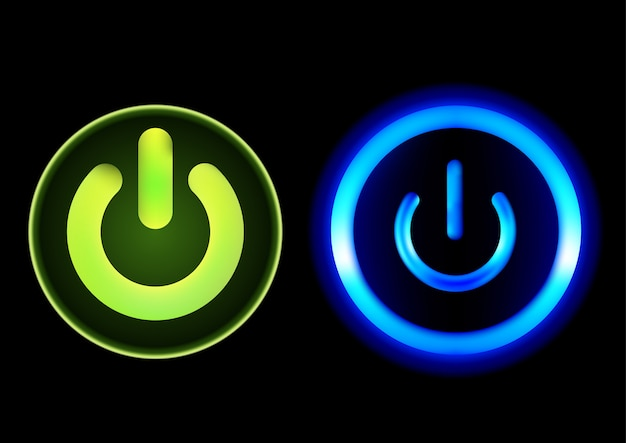 Push-buttons power in green and blue