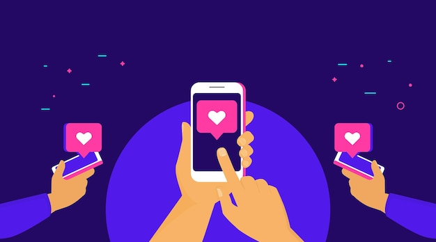 Push the like button for more likes concept flat vector illustration of human hands hold smart phone