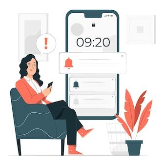 Push notificationsconcept illustration