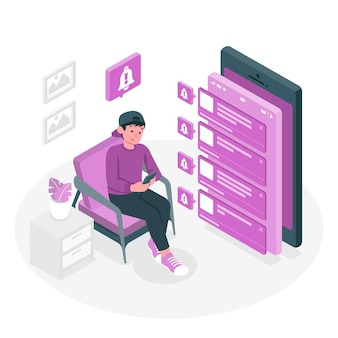 Push notifications concept illustration