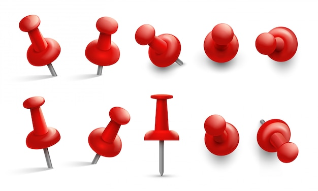 Канцелярская кнопка под разными углами